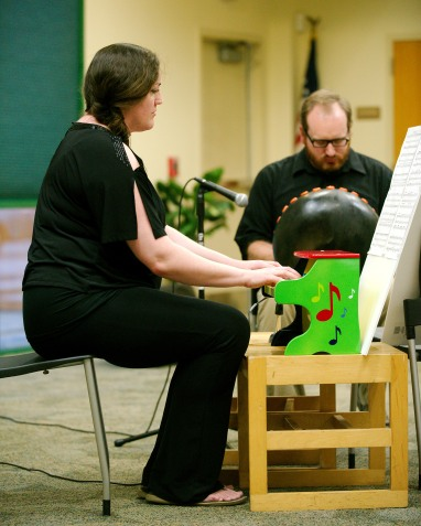 Lindsey Dolan with Drew Dolan performing at Florida International Toy Piano Festival January 9 2016 at Barbara S. Ponce Public Library