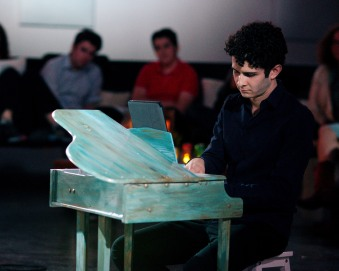 Robert Fleitz performing at Florida International Toy Piano Festival January 8 2016 at The Space at 2106 Main